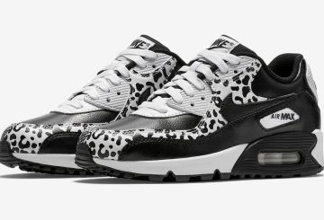 "Nike Air Max 90 GS ""Animal Print""   Nike Air Max 90 PRM Leather GS Black/Black-White 724871-001"