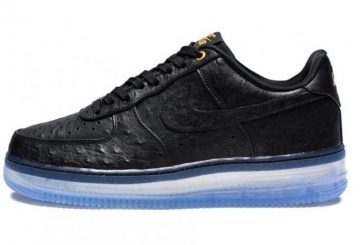 "NIKE AIR FORCE 1 COMFORT LUX LOW – BLACK/CLEAR ""Black Ostrich"""