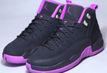 レディース★ 6月18日発売★ NIKE Air Jordan 12 GS Black/Metallic Gold Star-Hyper Violet 510815-018​ 【ナイキ エアジョーダン12 GS)