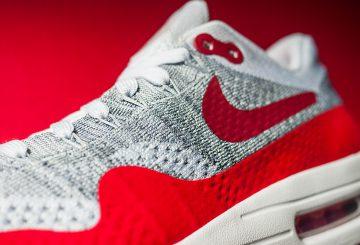 追加画像!7月28日発売★ Nike Air Max 1 Flyknit Wolf Grey/Sport Red-White 819476-106 【ナイキ エアマックス 1 フライニット】