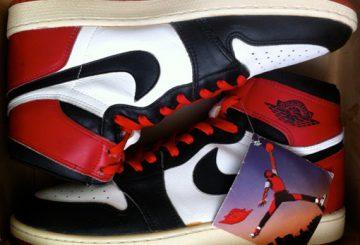 """MOVIE★Air Jordan 1 Retro High OG """"Black Toe"""" Black/White-Varsity Red 555088-125"""