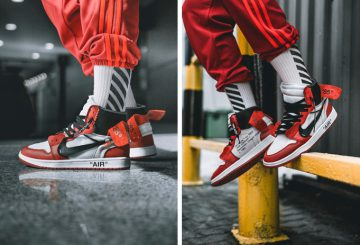 着用画像追記★ OFF-WHITE X AIR JORDAN 1 LOOKS ON-FEET  White/Black-Varsity Red AA3834-101