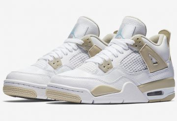 "6月10日発売★ NIKE Air Jordan 4 GS ""Linen""  White/Boarder Blue-Light Sand 487724-118 【ナイキ エアジョーダン 4 GS】"