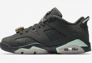 レディース★ 7月8日発売★ NIKE Air Jordan 6 Low GS   Anthracite/Mint Foam-Metallic Gold 768878-015  (ナイキ エアジョーダン 6  LOW GS)