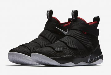"7月1日発売★ Nike LeBron Soldier 11 ""Bred"" Black/White-University Red 897644-002 (ナイキ レブロンソルジャー 11)"