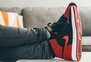 """動画&画像追記★9月9日発売★ NIKE Air Jordan 1 Flyknit """"Banned"""" Black/Varsity Red-White  919704-001 (ナイキ エアジョーダン1 フライニット )"""