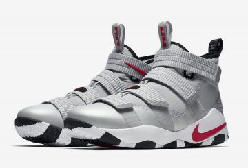 """9月発売予定★ Nike LeBron Soldier 11 """"Silver Bullet""""  Metallic Silver/Varsity Red-White-Black  897647-007 (ナイキ レブロン ソルジャー 11)"""