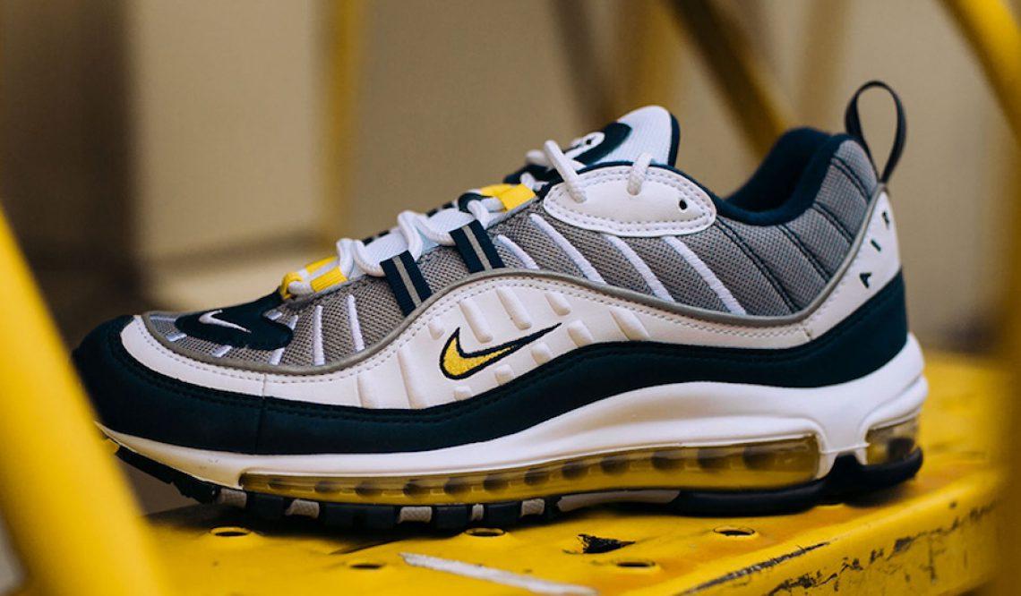 国内1月26日発売★ Nike Air Max 98  White/Tour Yellow-Midnight Navy-Cement Grey  640744-105 (ナイキ エアマックス 98)