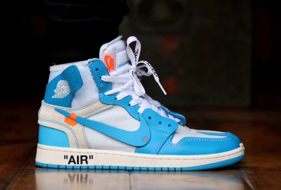 動画★6月9日発売★ Off-White x NIKE Air Jordan 1  White/Dark Powder Blue-Cone  AQ0818-148 (オフホワイト × ナイキ エアジョーダン 1)