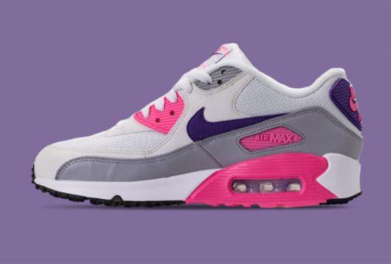 海外展開中★ Nike WMNS Air Max 90 White/Court Purple/Wolf Grey/Laser Pink 325213-136 (ナイキ エアマックス 90)