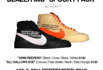 """9月発売★ Off-White x Nike Blazer Mid """"Grim Reepers""""Black/Cone-Black-White : AA3832-001  Off-White x Nike Blazer Mid """"All Hallows Eve""""  Canvas/Pale Vanilla/Black-Total Orange : AA3832-700"""