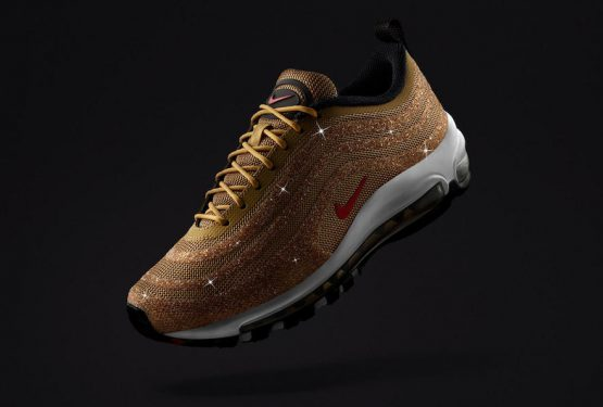 "NIKE AIR MAX 97 SWAROVSKI ""METALLIC GOLD"" Metallic Gold/Varsity Red-Black  927508-700 (ナイキ エアマックス 97 スワロフスキー)"